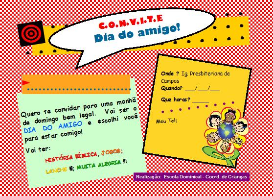 Convite dia do amigo - crianças